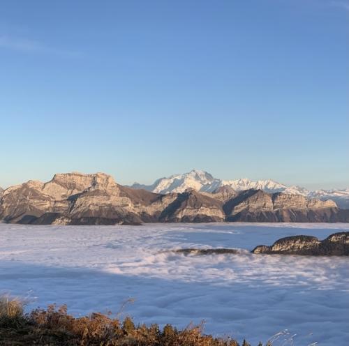 Mont Blanc et mer de nuages depuis le Semnoz